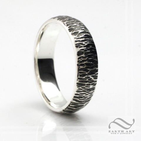 Sterling 7mm Wide Bark Texture Ring or Wedding Band