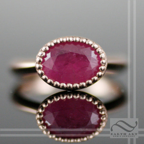 Ruby Solitaire Ring in Milgrain - 14k