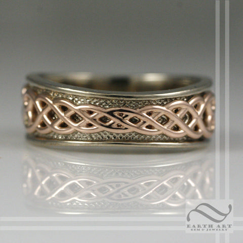 Mens 14k White and Rose gold Tapered Celtic Wedding Band