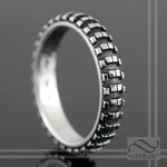 Ladies Dirt Bike Tire Tread Ring- Narrow Version - Sterling Silver