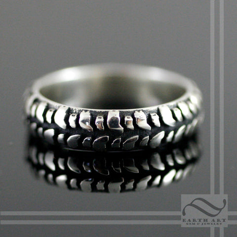 Ladies Mud Bogger Tire Tread wedding Ring - Sterling Silver