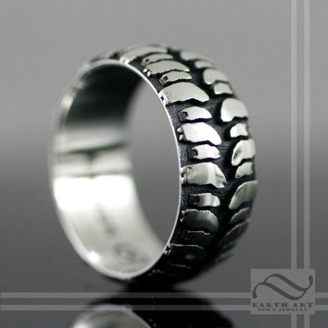 Mens Mud Bogger Tire Tread wedding Ring - Wide design - Sterling Silver