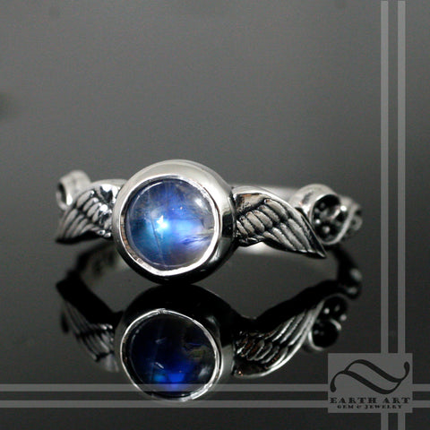Moonstone wing Ring - Sterling Silver