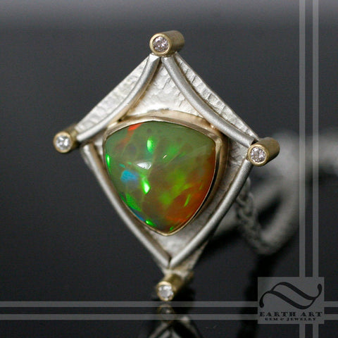 5.6 ct Honeycomb Welo Opal in Sterling & Gold pendant