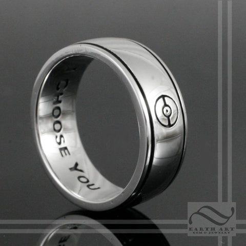 Sterling Silver Pokeball Wedding Band - Mens Ring