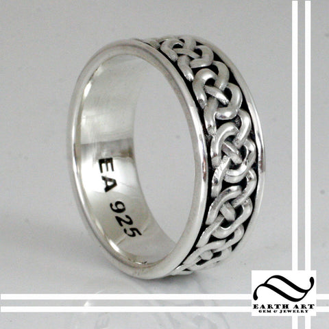 Mens Celtic Knot ring - Sterling Silver - Infinity knot pattern