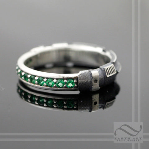 Emerald Lightsaber Ring - Sterling Silver