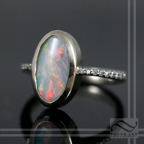 Opal Engagement Ring in 14k white gold with diamonds