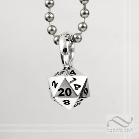 D20 Double Damage Pendant - Sterling Silver