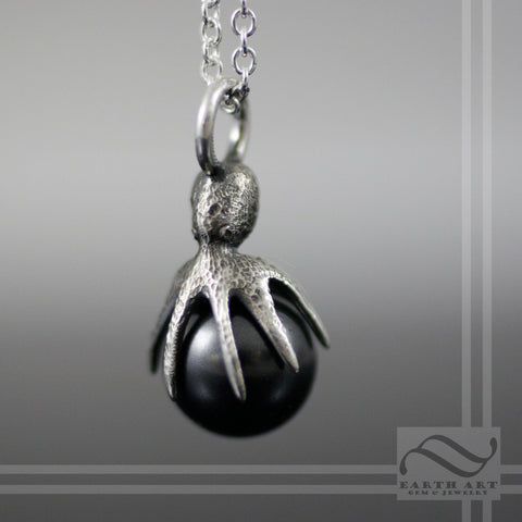 Black Pearl Octopus Pendant -Sterling or 14k