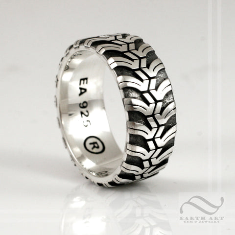 Mens Cobalt M/T Tire Tread wedding Ring - Wide design - Sterling Silver