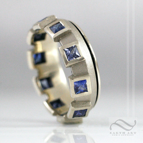 Mens Starship Ring - A Sapphire and white gold wedding band