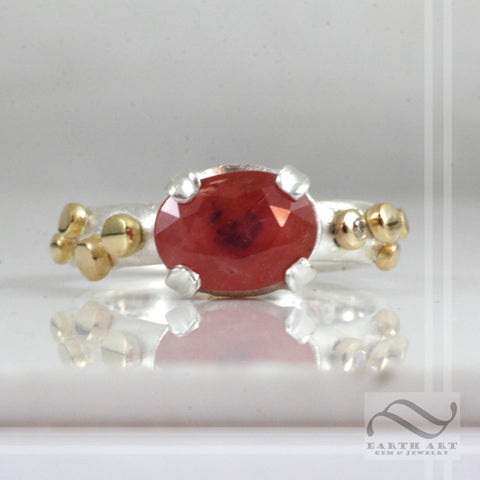 Natural Ruby in Sterling and 18k - brushed finish solitaire
