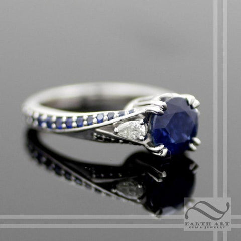 Natural Sapphire Three stone ring in 14k