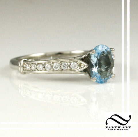 Natural Aquamarine and Diamond Engagement Ring - 14k