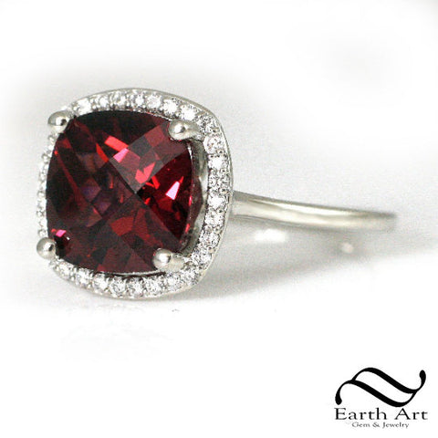 Rhodolite Garnet halo Ring with diamonds in 14k or 10k