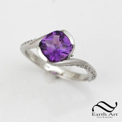 Amethyst Sidewinder - 14k and Diamonds Engagement Ring