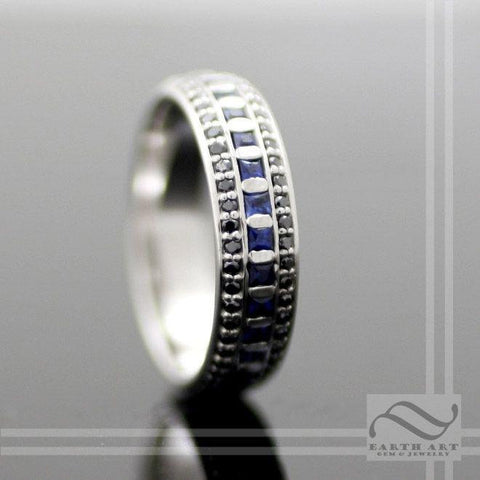 Eternal Night - Sapphire and Black Diamond Eternity Band - 14k white gold