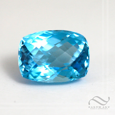 27.92 carat Natural Swiss blue Topaz in Checkerboard Rectangle Cut