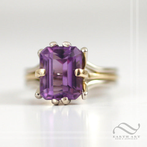 Amethyst Cocktail ring in 14k white and yellow gold