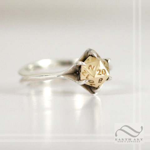 D20 Engagement ring in Mixed Metals - Sterling silver or white gold