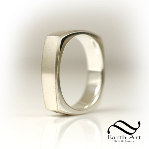 The Silver Square - Squircle Ring Solid Sterling Silver band