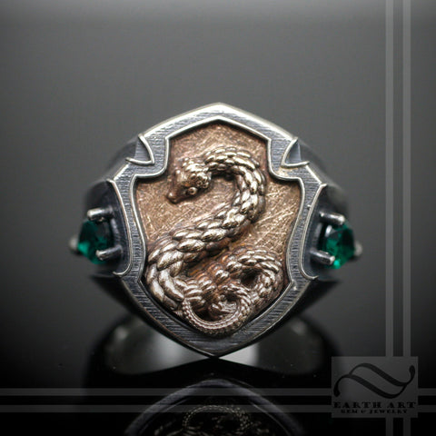 Deluxe House Signet Ring - The Serpent  - Sterling Silver and Ancient Bronze