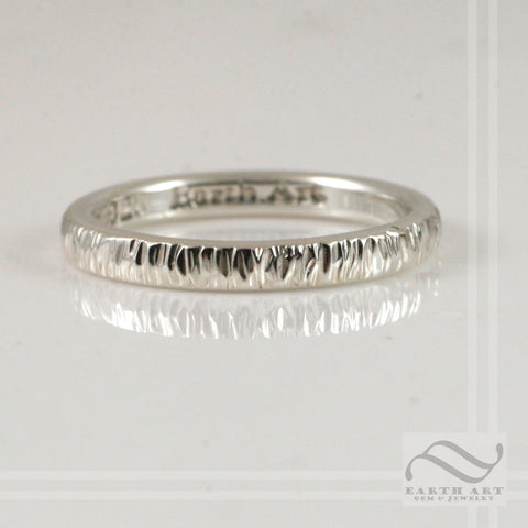 2mm Hand textured tree bark ring - Sterling Silverwhite, rose or yellow gold