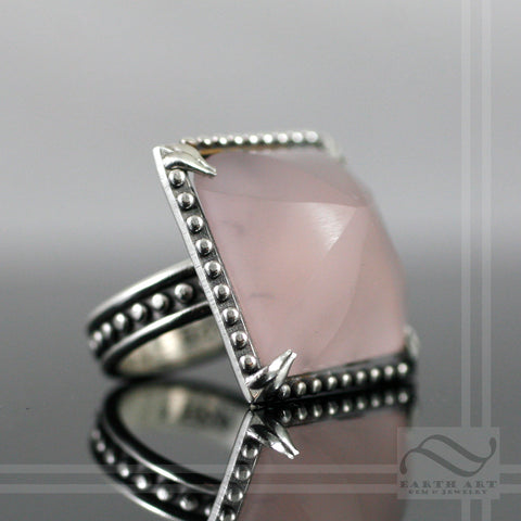 Frosted Rose quartz in Sterling Studded ring - Hand Cut