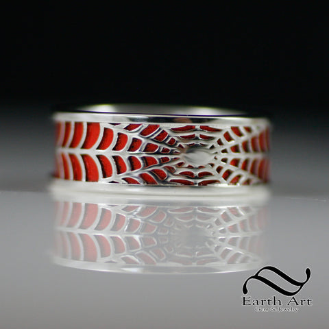 Spiderweb Ring - Sterling With Red Ceramic Plating