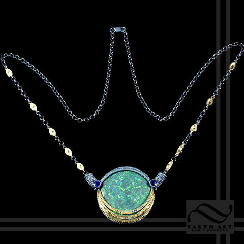 Andamooka Matrix Opal in 18k yellow gold and Sterling