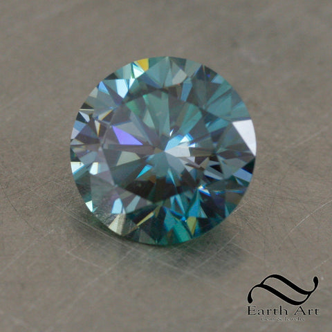 6.35 ct 12.26mm Round teal Moissanite loose gemstone