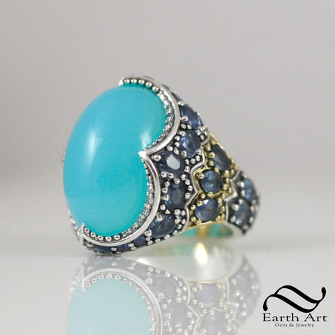 Blue Peruvian Opal in 18k and Sterling