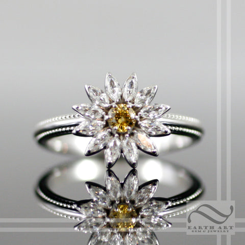 14k white gold and Diamond Daisy Ring