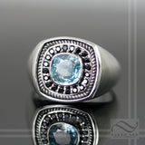 Blue Zircon and Spinel Signet Ring - Solid Sterling Silver heavy mens ring