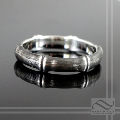 Brushed Bamboo Ring in Sterling Silver