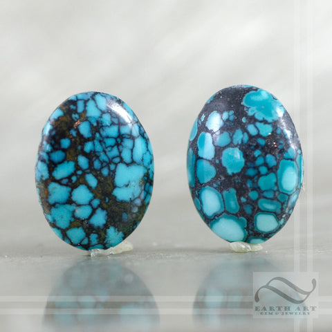 16.7 cttw Pair of loose turquoise oval cabochon - natural vintage cabs