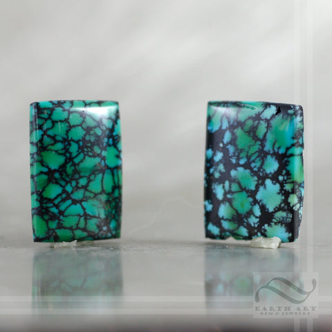 15.6 cttw Pair of loose turquoise rectangle cabochons
