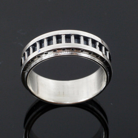 Men's Industrial Band - Sterling Silver - Steampunk wedding ring