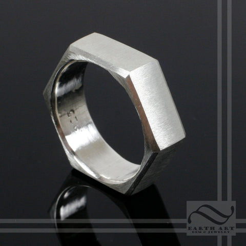 Sterling silver Brushed Hexagon Ring - 7mm wide