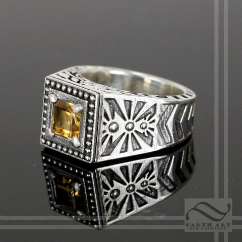 Citrine Noir Sun Ring -Sterling Silver