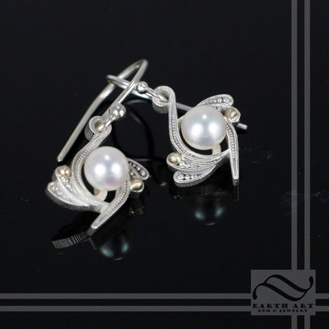 Art Deco Inspired Pearl Earrings - Vintage style - Sterling  Silver