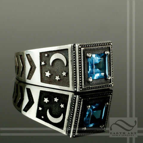 Blue Topaz Noir Night Signet Ring -Sterling Silver