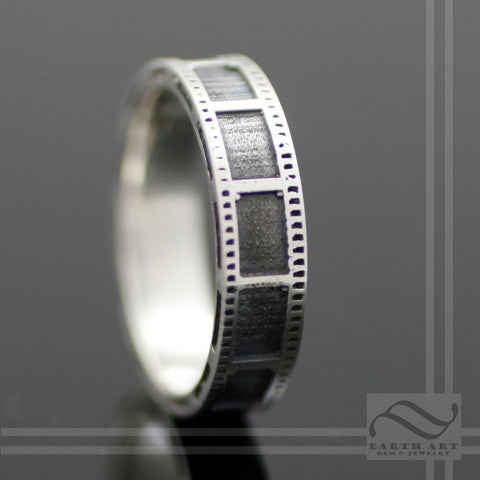 Film Strip Wedding Ring - Sterling Silver -Unisex