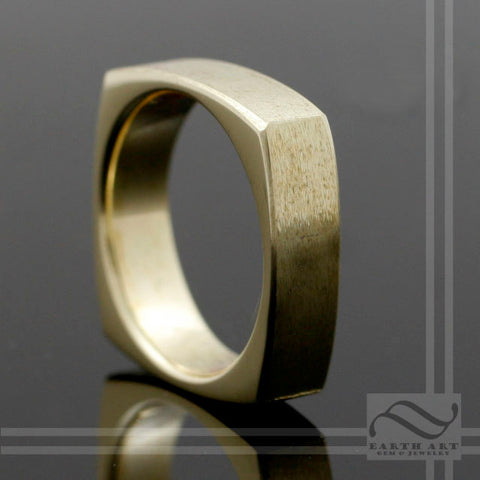The Golden Square - 14k Wedding Band - squircle ring