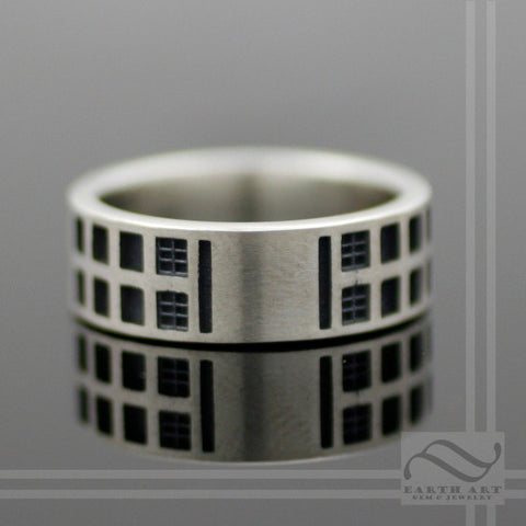 Through Space and Time -Tardis Band - Sterling Silver