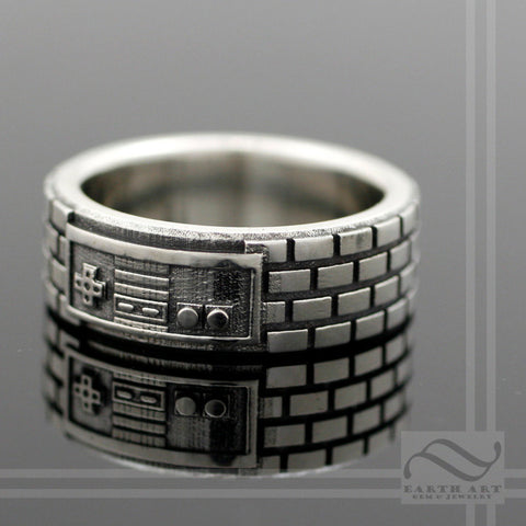 Plain NES Game Controller Ring - 10k Gold - Geeky mens wedding band