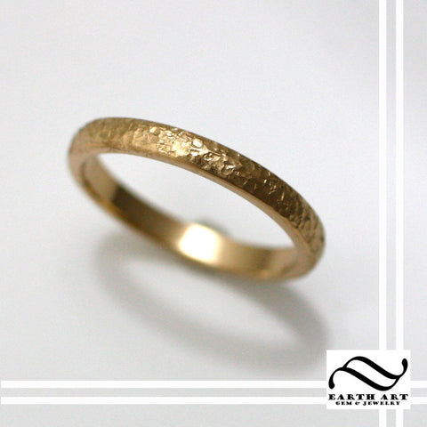 Ladies Aspen Ring - 14k - Hand textured tree bark ring
