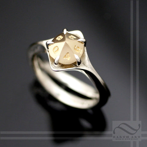 D10 Engagement ring in Mixed Metals - Sterling silver and 14k gold