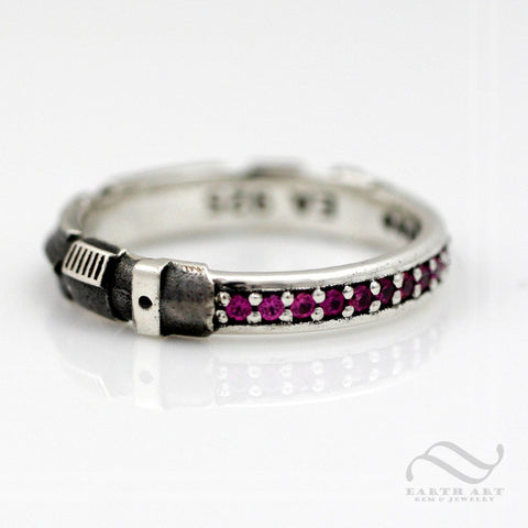 Ruby Light Saber Ring - Sterling Silver - Narrow Version